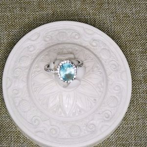 STERLING SILVER 925 AQUAMARINE CRYSTALS RING
